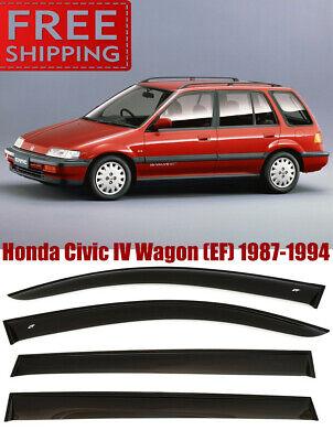 87-94 EF Window Smoke Visor Rain Sun Guard Deflectors For Honda Civic IV Wagon