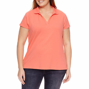 Details about NEW! ~ ST JOHN\'S BAY ~ WOMEN\'S PLUS SIZE 4X ~ PEACH POLO  SHIRT TOP ~ NWT