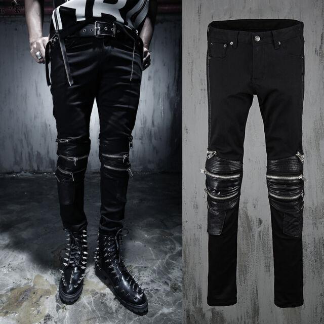 Men's Gothic Moto Biker Skinny Jeans Zipper Punk Goth Rock Vegan Pants Trousers