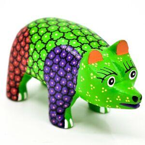 Handmade-Alebrijes-Oaxacan-Copal-Wood-Carving-Painted-Folk-Art-Bear-Figurine