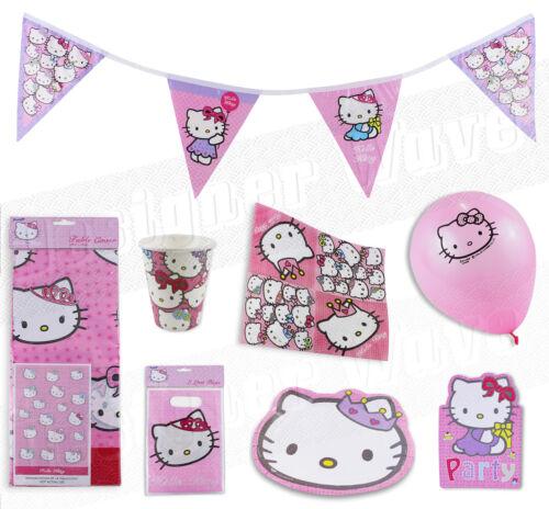 Niñas Hello Kitty Fiesta De Cumpleaños Kit Para 8 o 16 Rosa Vajilla Platos Tazas