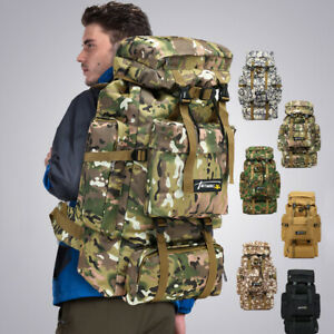 70L-Camping-Hiking-Nylon-Backpack-Travel-Rucksack-Luggage-Molle-Tactical-Bag-New