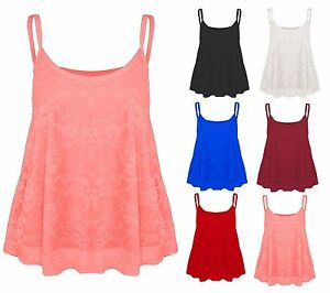 5af2ee73a35 New Womens Lace Swing Vest Sleeveless Top Strappy Cami Ladies Plus ...