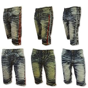 c28c6fcd7c Big and Tall Mens JEAN SHORTS ACID WASH DESTROYED Stretch Slim Fit ...