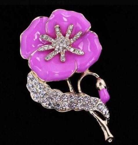 Tono Oro Rosa//Lila Esmalte cristales diamante con incrustaciones de amapola Broche Pin