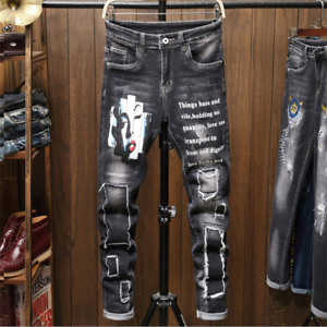 Men-039-s-Patch-Jeans-Pants-Long-Stretch-Fit-Printed-Letters-Comfy-Casual-Trousers