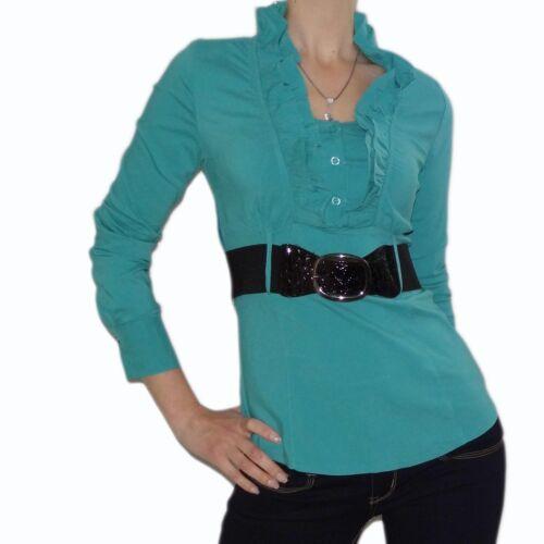 Damen Bluse Shirt Blusen Top Business Oberteil Hemd Long Stretch Langarm Pulli