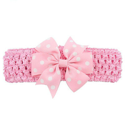 Newborn Baby Girls Toddler Headband Grosgrain Ribbon Dot Hair Bow Crochet Band