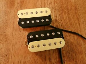 HUMBUCKER-PICKUP-SET-ZEBRA-ALNICO-2-MAGNETS-VINTAGE-OUTPUT-FOUR-CONDUCTOR-WIRED