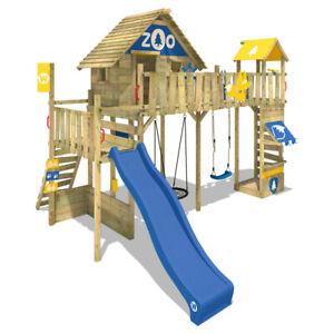 WICKEY Stelzenhaus Baumhaus Spielturm Smart Ranger - Nestschaukel, blaue Rutsche