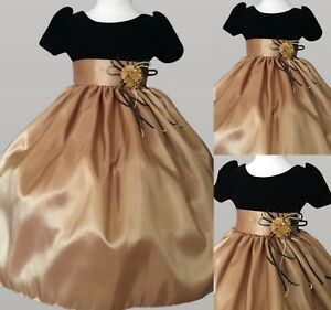 Gold-Taffeta-Black-Cap-Sleeve-Holiday-Girl-Dress-Flower-Girl-Bridesmaid-Pageant