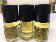 3x Body Oil Egyptian Musk Yellow 3 Bottle X 1/2 Oz