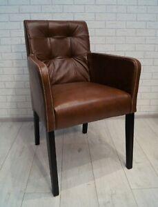 Details Zu Braun Echt Leder Esszimmerstuhle Mit Armlehnen Stuhl Sessel Esszimmer Stuhle
