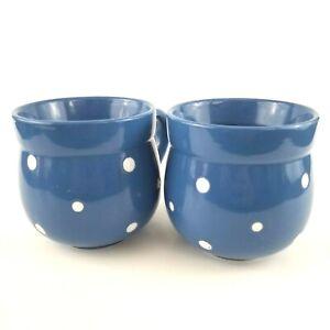Set of 2 Temp-tations By Tara Blue White Polka Dot Stoneware 12 Oz Coffee Mugs