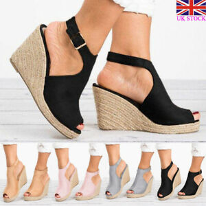 New Womens Platform Sandals Espadrille Ankle Strap High Wedge Summer Shoes Sizes
