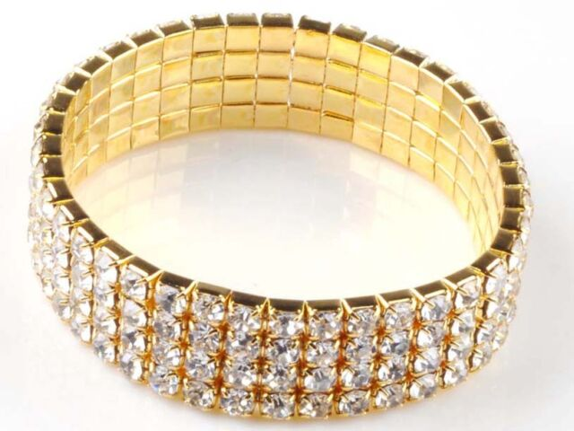 1-8 Rows Bling Rhinestone Wedding Bridal Bracelet Bangle Crystal Wristband New