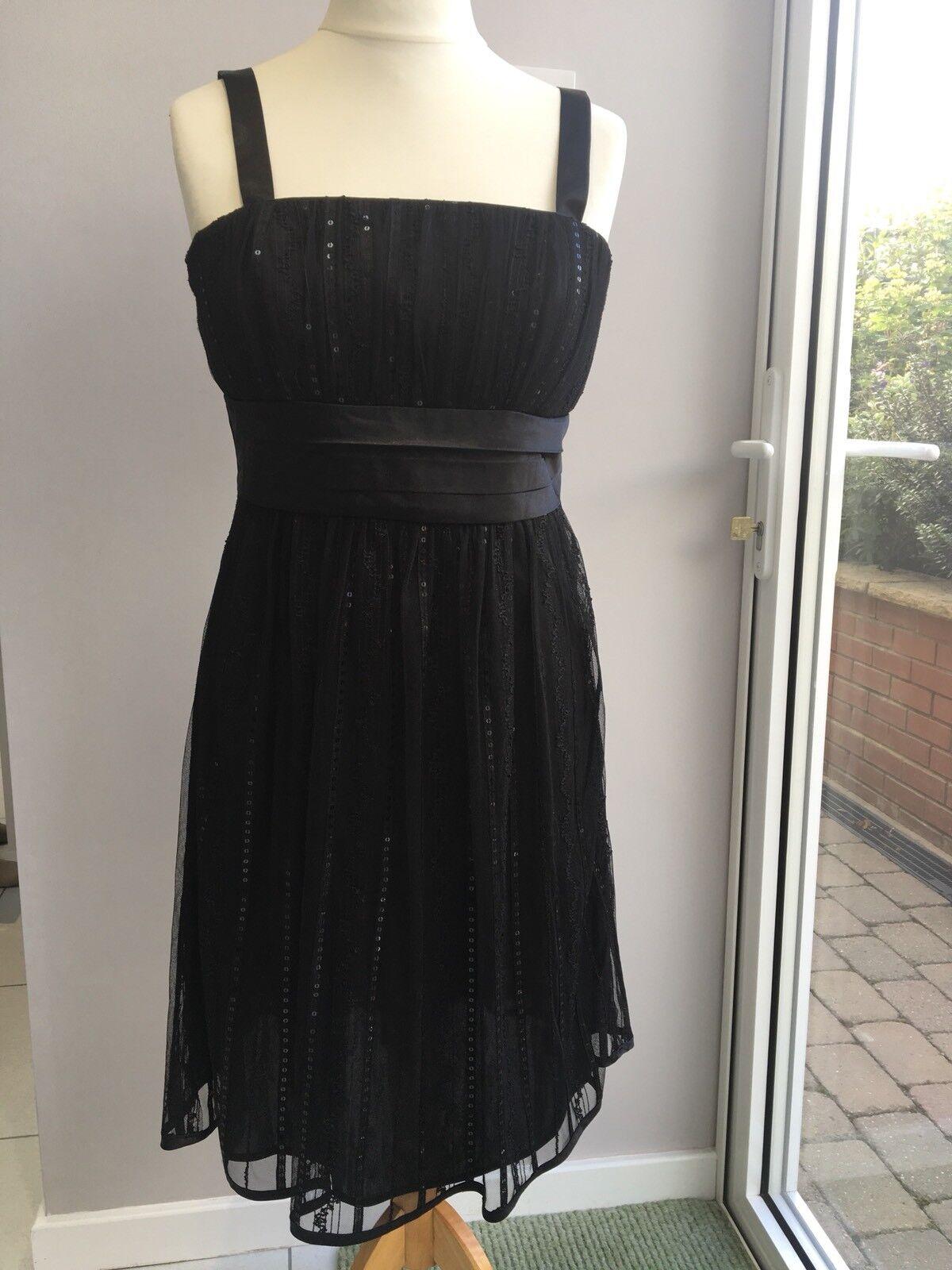 Belle noir Parti robe -12 de cocktail 10 -12 robe DENTELLE/PAILLETTES Satin Sash longueur genou 7ca252