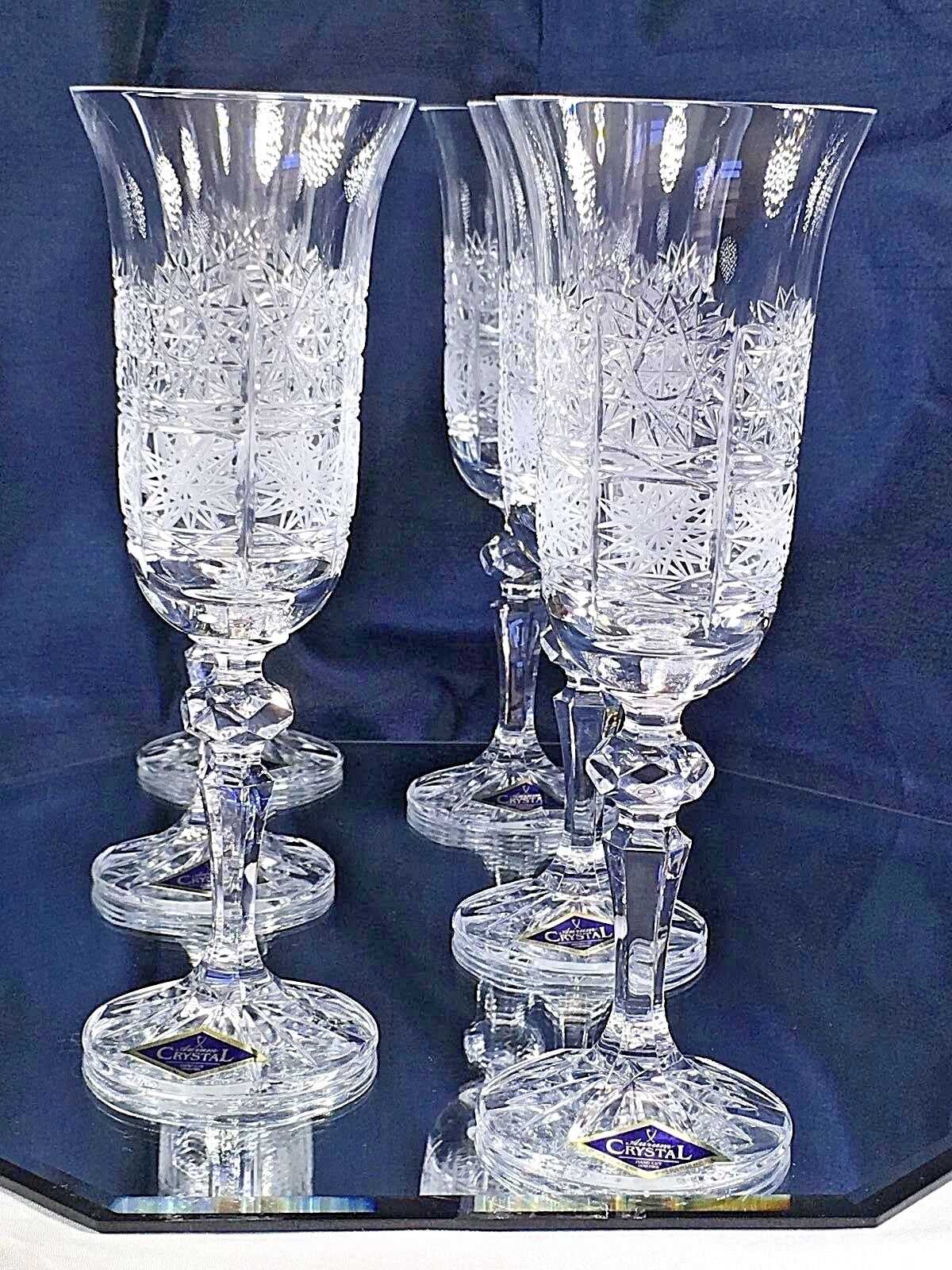 Verre cristal Lot de 6 Champagne vin à main 5 oz (environ 141.75 g) Cut Bohemia Aurum Crystal