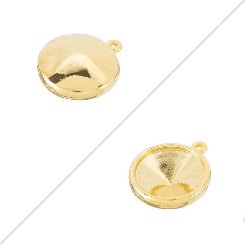 Gold Plated 18mm Pendant Rivoli Holder Frame Setting Links H106//14