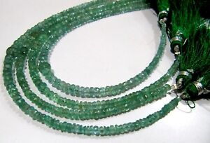 BEST Quality Natural Zambian Emerald Rondelle faceted Beads 3-4mm strand 4 inch