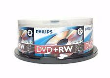 100 PHILIPS 4X DVD+RW DVDRW ReWritable Disc 4.7GB Branded Logo 4x25pk Spindle
