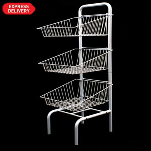 NEW 3,5 TIER WHITE FREE STANDING BASKET UNIT STAND FOR RETAIL SHOP DISPLAY