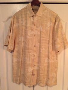 Tommy Bahama Silk Floral Shirt -Gold/Beige Floral -Short Sleeve -Men's Medium-M