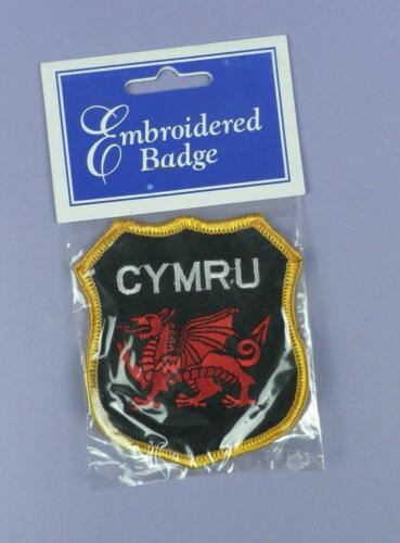 CYMRU Wales Red Dragon Embroidered Cloth Sew On Badge Vintage Unused Stock