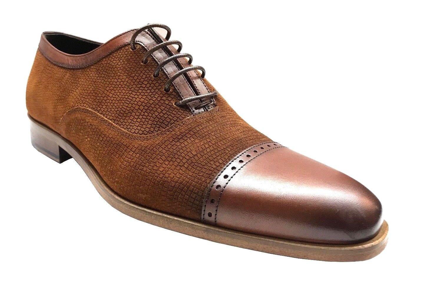 Corrente Men's Cap Toe Leather Suede Oxford Dress scarpe Tobacco 4560