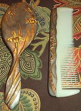 """Vintage Estate Sale Silver and Gold Vanity 8"""" Brush & Comb Set"""