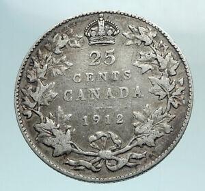 1912-CANADA-UK-King-George-V-Genuine-Original-SILVER-25-CENTS-Coin-i79578