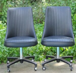 Stupendous Details About Pair 1960S Chromcraft Dinette Set Black Vinyl Swivel Chairs Cjindustries Chair Design For Home Cjindustriesco