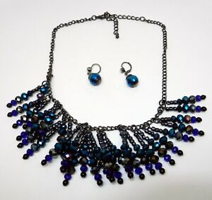 20-034-necklace-black-chain-blue-purple-gray-grey-beads-with-matching-earrings