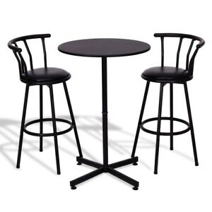 Details About 3pcs Kitchen Bar Table Set With 2 Stools Pub Breakfast Bistro Furniture Black Us
