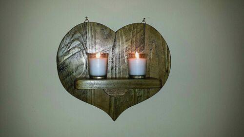 Rustique Reclaimed palette bois murale Appliques//bougeoir.