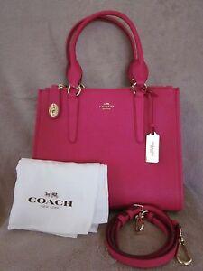 Carryall cuero Nwt de Coach Crosby cruzado Pink 888067784886 de 33995 bolso grano Ruby en qF8rE78