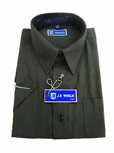 NEW Boys Charcoal SHORT Sleeve Dress Shirt, ALL SIZES(4~20)