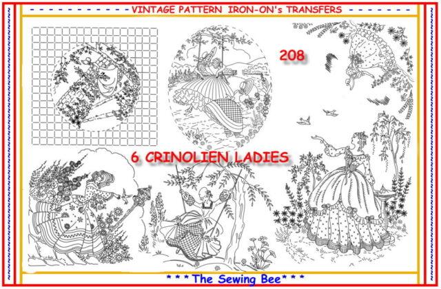 208 6 Crinoline Lady Ladies Embroidery Iron On Transfers Patterns