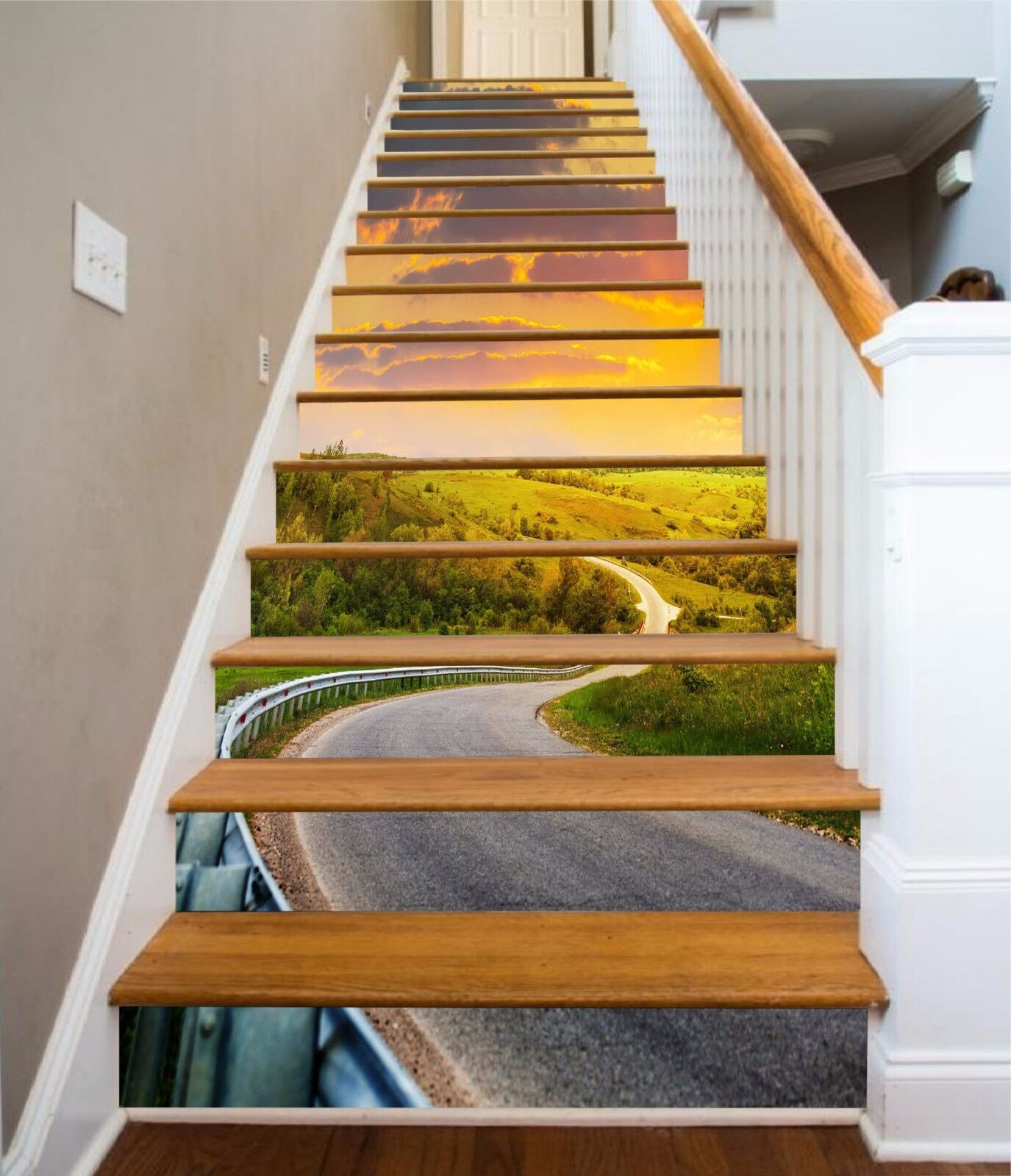 3D Road Scenery 14 Stairs Risers Decoration Photo Mural Vinyl Decal WandPapier US