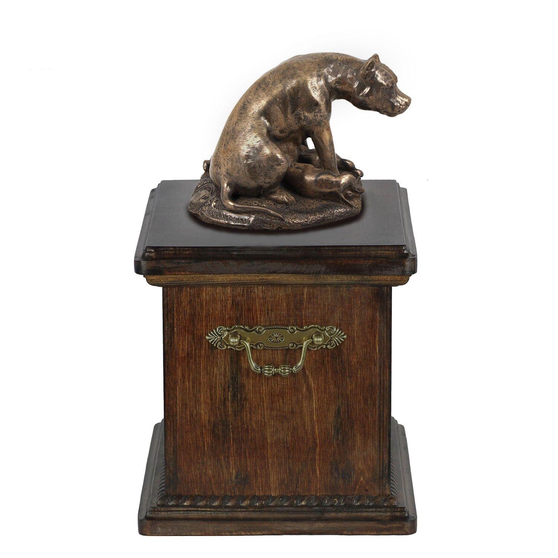 American Staffordshire Terrier type 2  wooden urn with dog statue, ArtDog type1