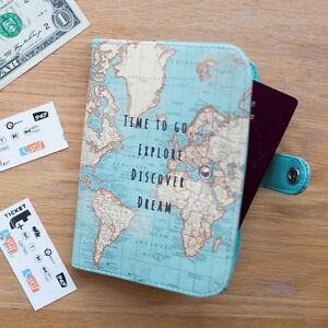 Vintage time to go world map uk passport cover holder travel image is loading vintage time to go world map uk passport gumiabroncs