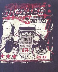 Dickies-Rough-Around-The-Edges-On-The-Road-Since-1922-T-Shirt-Tee-Black-Cotton-L