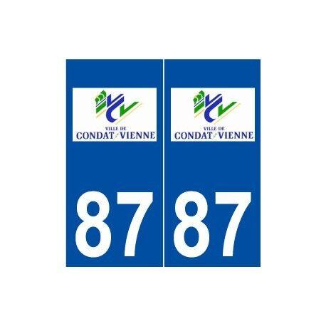 87 Condat-sur-Vienne logo autocollant plaque stickers ville -  Angles : droits