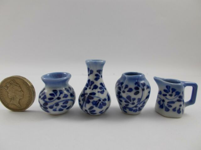 Antique Ceramic Vintage Vase Jar Pot Chinese Miniatures Dollhouse Furniture 3pc