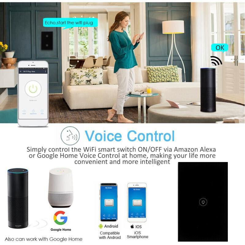 Smart WIFI Wall Light Touch Panel Switch App Timing Socket Alexa Google Home 5