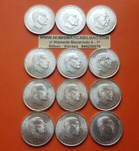 12-monedas-x-100-PESETAS-1966-19-66-PLATA-FRANCO-ESTADO-ESPANOL-SC-Espana-UNC