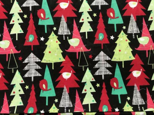 Cuarto Gordo Tela Negra Navidad FQ Navidad Tress aves 100/% Algodón Acolchado