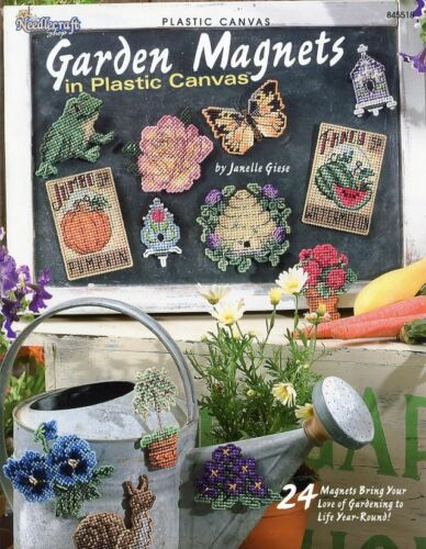 24 Garden Magnets Flowers Veggies Seeds Birds TNS Plastic Canvas Pattern NEW