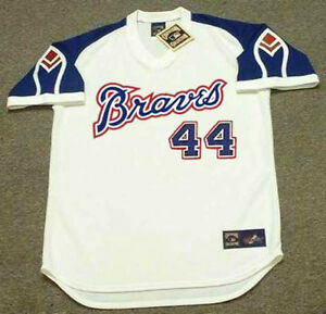 on sale d2102 a1dbf Details about HANK AARON Atlanta Braves 1974 Majestic Throwback Home  Baseball Jersey
