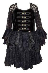Details about Plus Size Dark Star Black Lace Velvet & Satin Gothic  Steampunk Dress 1X 2X 3X